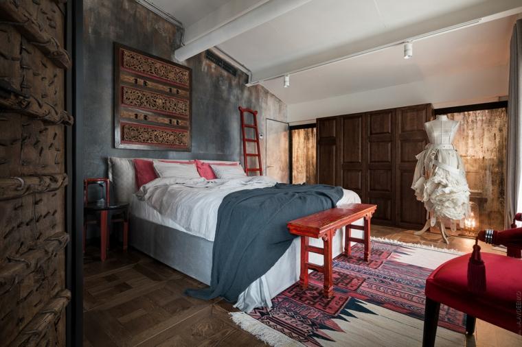 Come creare un loft, camera da letto con pareti in cemento, mobili in legno
