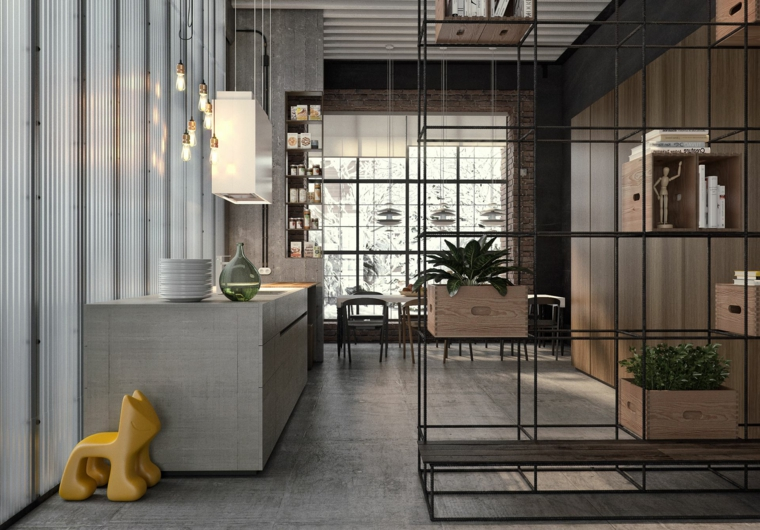 Come arredare un loft open space, soggiorno con mobile di metallo