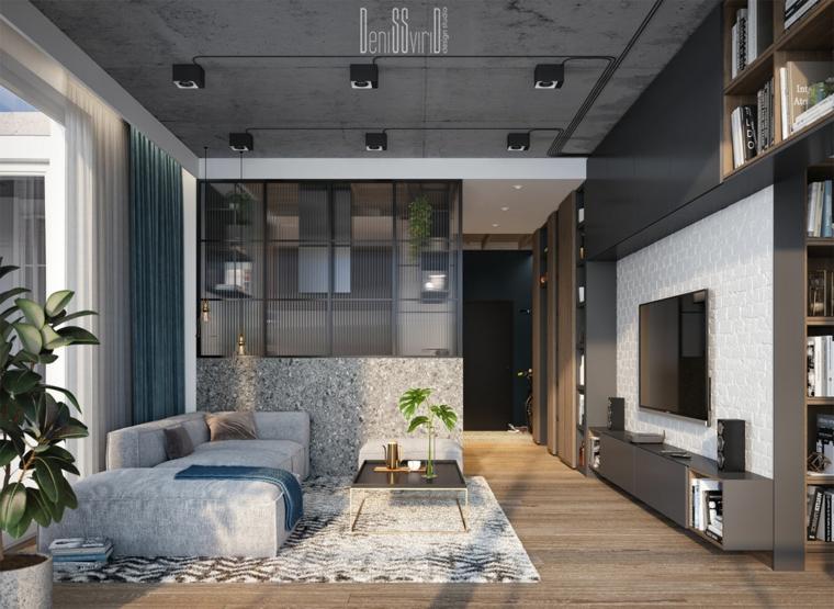 Come creare un loft, soggiorno con divano e tavolino basso, appartamento con pavimento in legno parquet