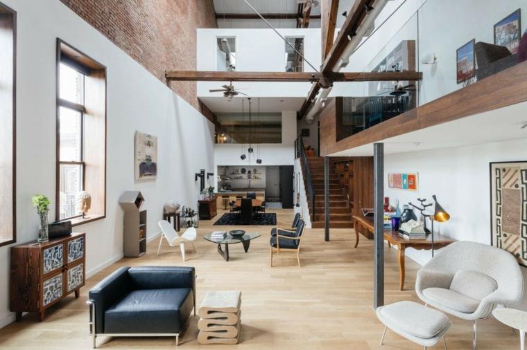 Case moderne interni open space, casa con soppalco, cucina e sala da pranzo insieme