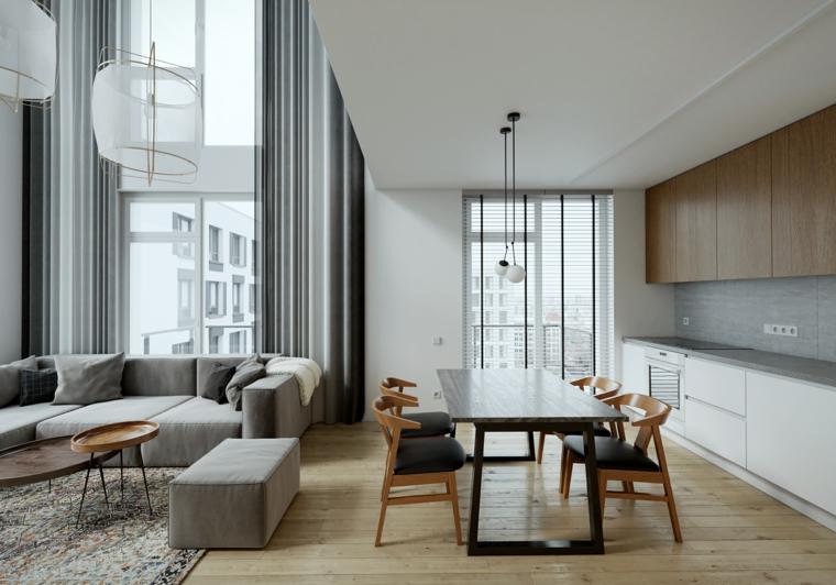 Come creare un loft, cucina e sala da pranzo insieme, soggiorno con divano grigio e tavolino basso