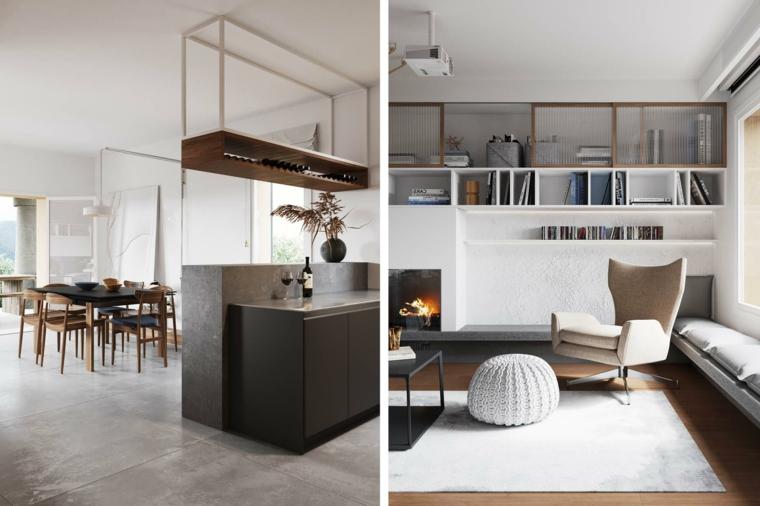 Appartamento open space significato, soggiorno con poltrona e tavolo basso, cucina con tavolo da pranzo