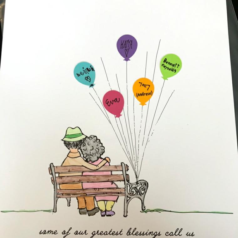 Biglietto festa dei nonni, disegno con matite colorate e palloncini con scritte