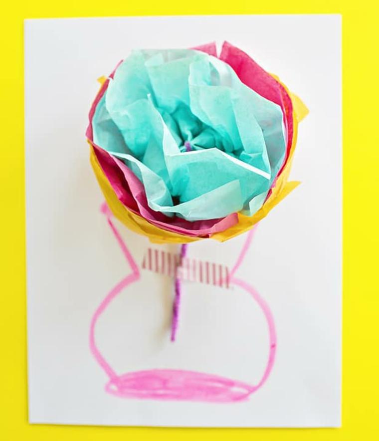 Biglietto festa dei nonni, cartolina con disegno vaso per fiori, fiori origami di carta colorata