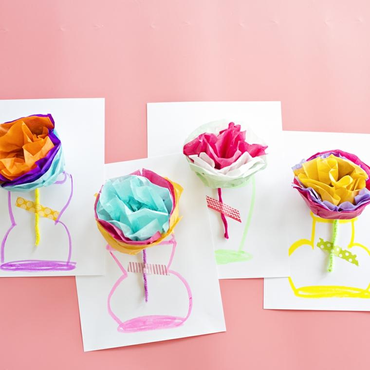 Idee regalo festa dei nonni, cartoline con disegno di vaso, fiori di carta origami
