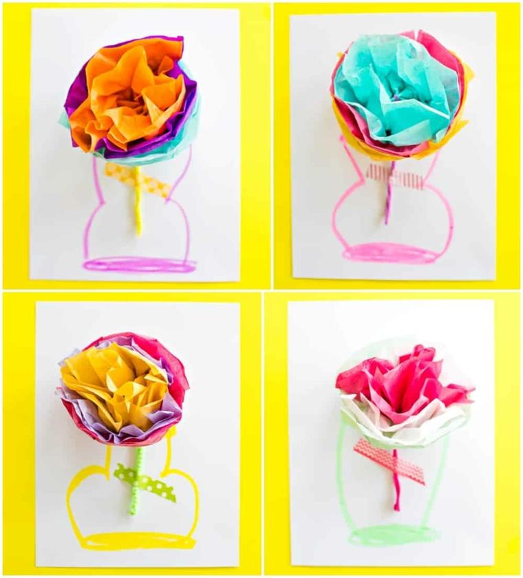 Idee regalo festa dei nonni, bigliettino con disegno vaso e fiori di carta origami