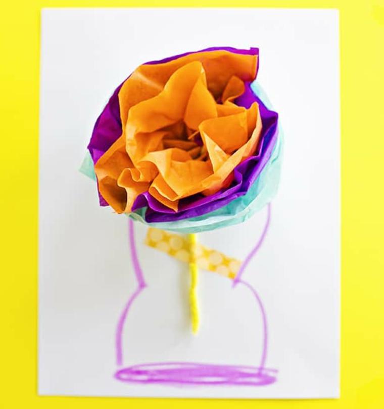 Biglietti per la festa dei nonni, cartolina con disegno vaso con fiori di carta origami