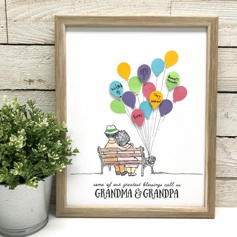 Disegni festa dei nonni, cornice con disegno di nonni su una panchina