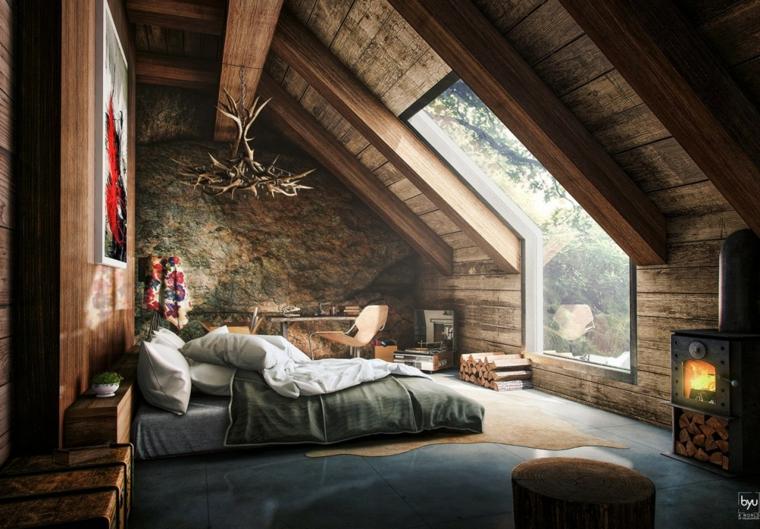 Mansarda con zona notte, soffitto in pendenza in legno, come creare un loft