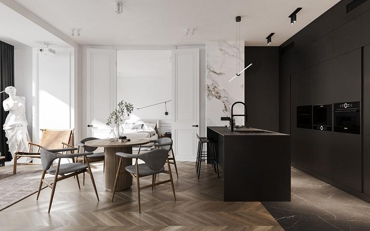 Arredare un open space, cucina e sala da pranzo insieme, tavolo da pranzo rotondo con sedie