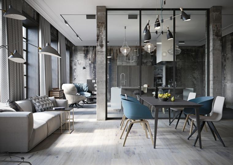 Appartamento open space significato, soggiorno con divano e tavolo da pranzo