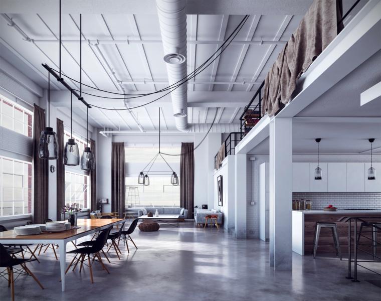 Come arredare un open space, cucina con isola, tavolo da pranzo lungo con sedie