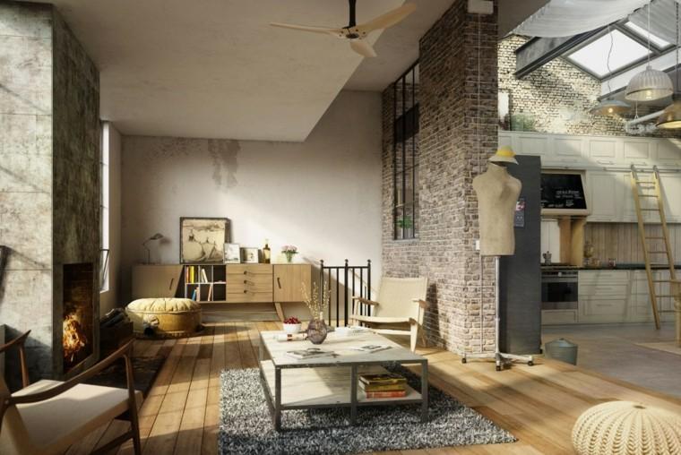 Parete con mattoni a vista, soggiorno con tavolino in marmo, cucina scala di legno