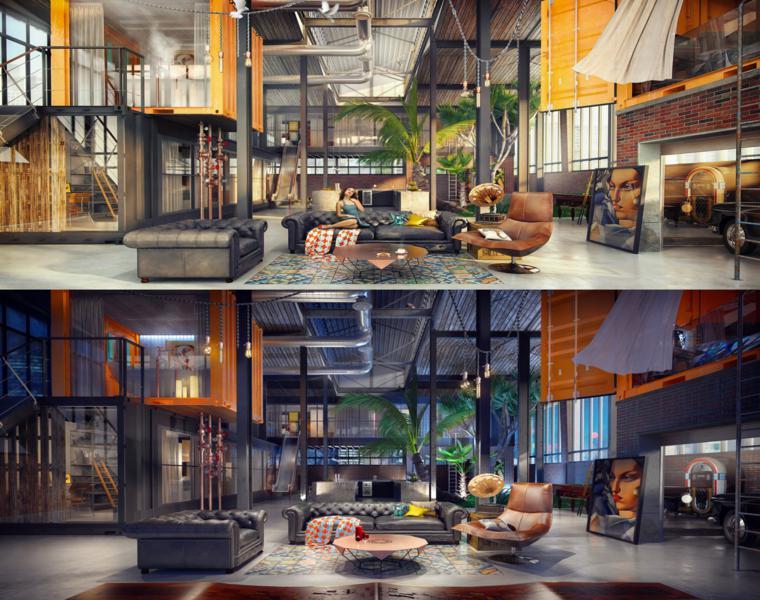 Come arredare un loft open space, soggiorno con divani in pelle tavolino rotondo in legno
