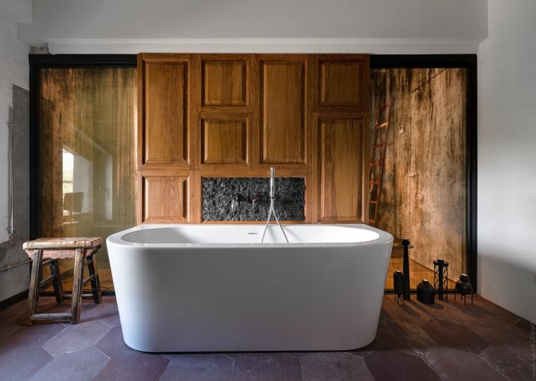 Appartamento open space significato, sala da bagno con vasca, bagno con parete in legno