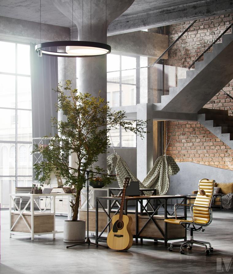 Parete con mattoni a vista, soggiorno con tavolo di legno, appartamento open space significato