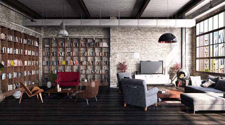 Arredamento industriale, case moderne interni open space, soggiorno con divano e poltrone