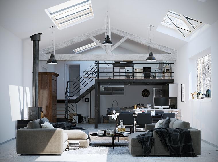 Arredamento industriale, arredare open space, soggiorno con due divani e tavolino basso