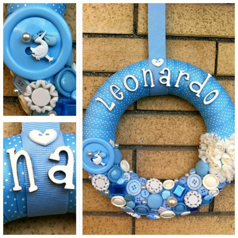 Tutorial fiocco nascita, corona con nastro azzurro e bottini, corona con scritta nome Leonardo