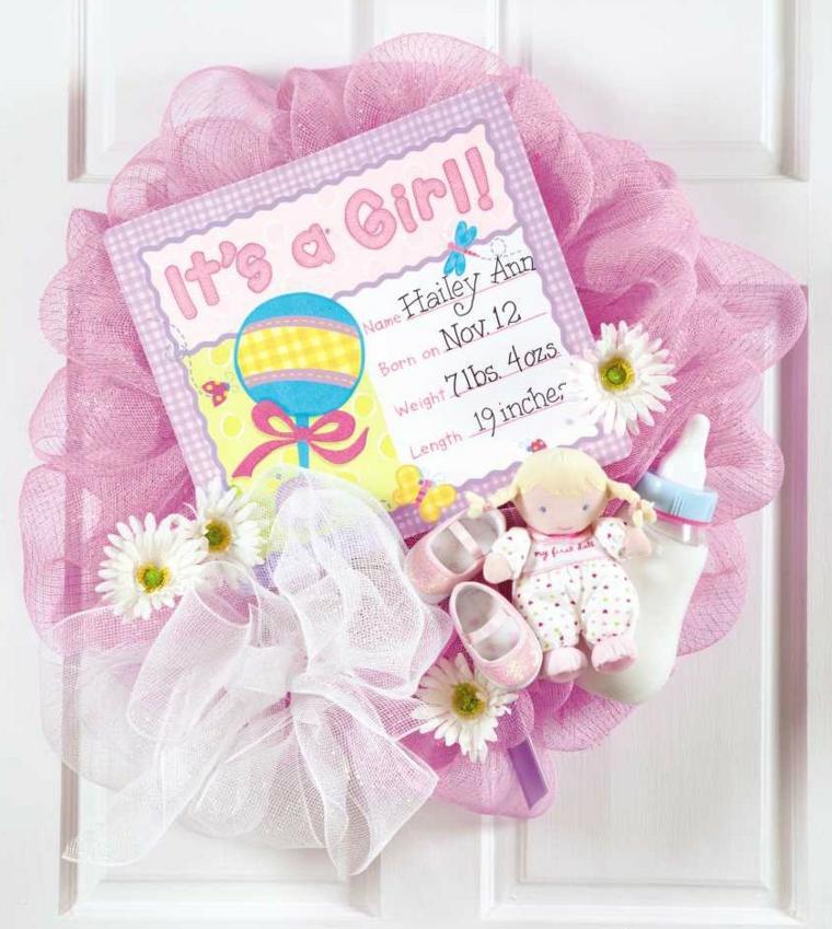 Coccarda nascita, porta d'ingresso con fiocco di tulle rosa e bigliettino