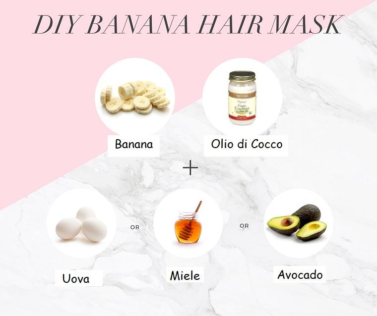 Maschera per capelli grassi, foto di ingredienti come banana e olio di cocco
