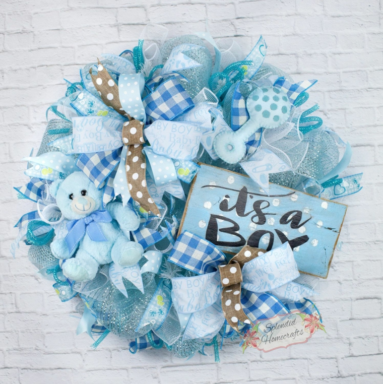 Coccarda maschio, fiocchi nascita da esterno, coccarda con fiocchi e nastri azzurri