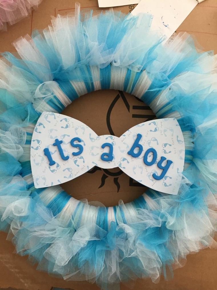 Tutorial fiocco nascita, corona con scritta Its a boy con tulle azzurro, coccarda per maschietto