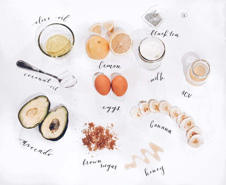 Come nutrire i capelli in modo naturale, foto di ingredienti per fare una maschera per capelli