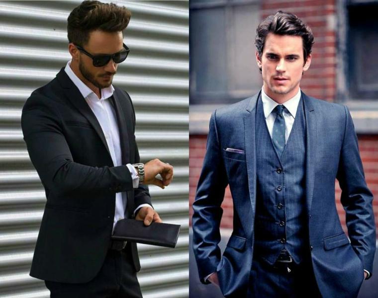 Come tagliare i capelli corti, collage due foto con uomini vestiti con giacca