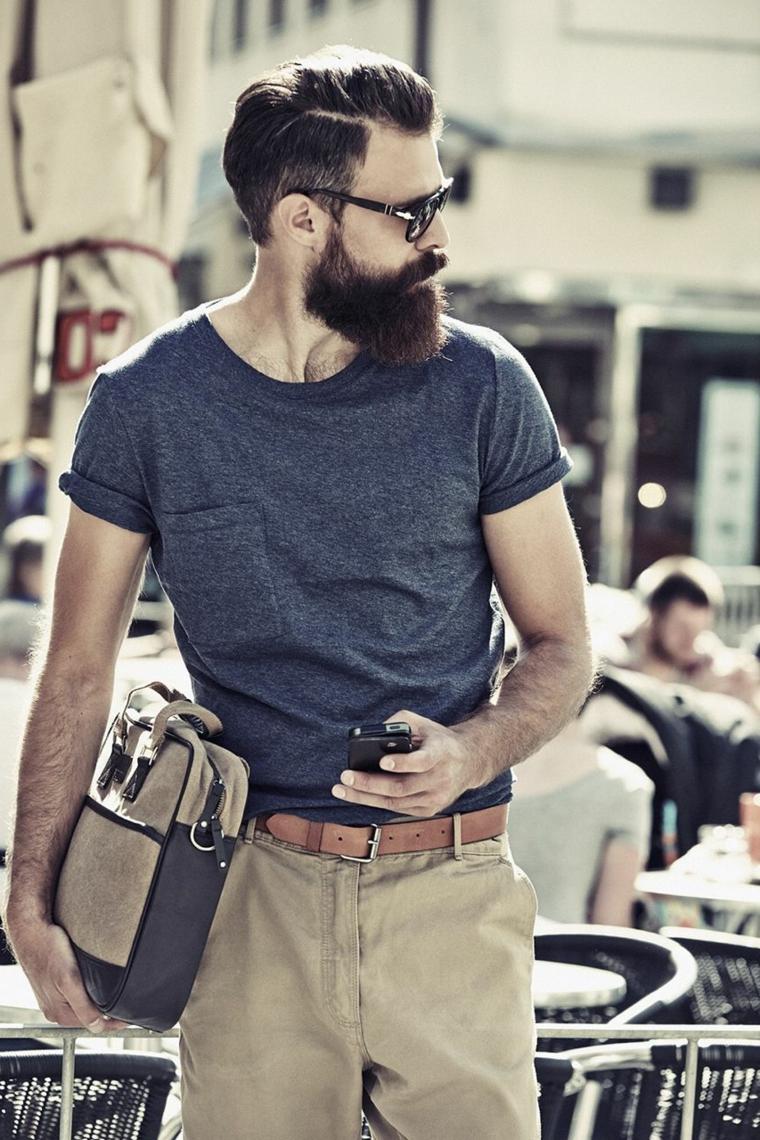 Taglio capelli uomo sfumatura, uomo con barba lunga, capelli lunghi sopra e corti ai lati