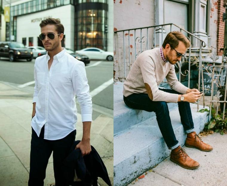 Taglio capelli uomo corti, collage due foto di uomini con capelli corti ai lati