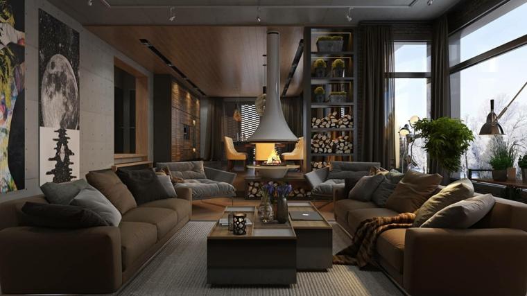 Soggiorno con camino, living con due divani e tavolino di legno, appartamento loft