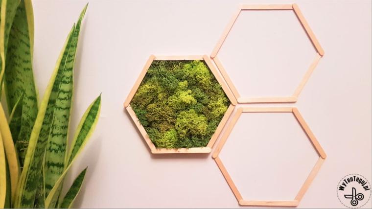 Cornice di legno da appendere alla parete, cornice di legno con piante verdi