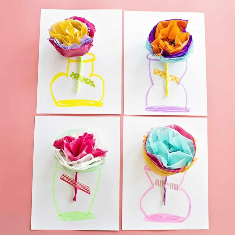 Biglietti per la festa dei nonni, cartolina con disegno vaso di fiori di carta origami