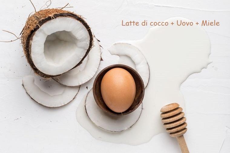 Maschera per capelli fai da te, immagine di un cocco tagliato e uovo