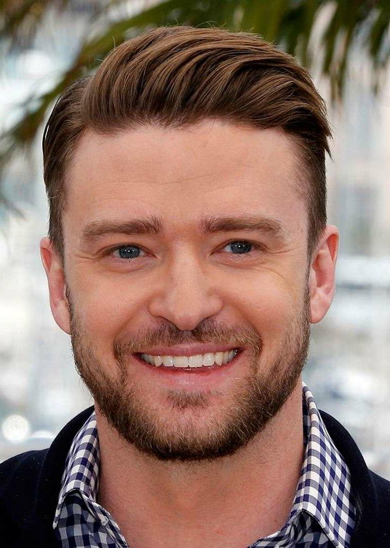 Come tagliare i capelli corti, Justin Timberlake con acconciatura riga laterale