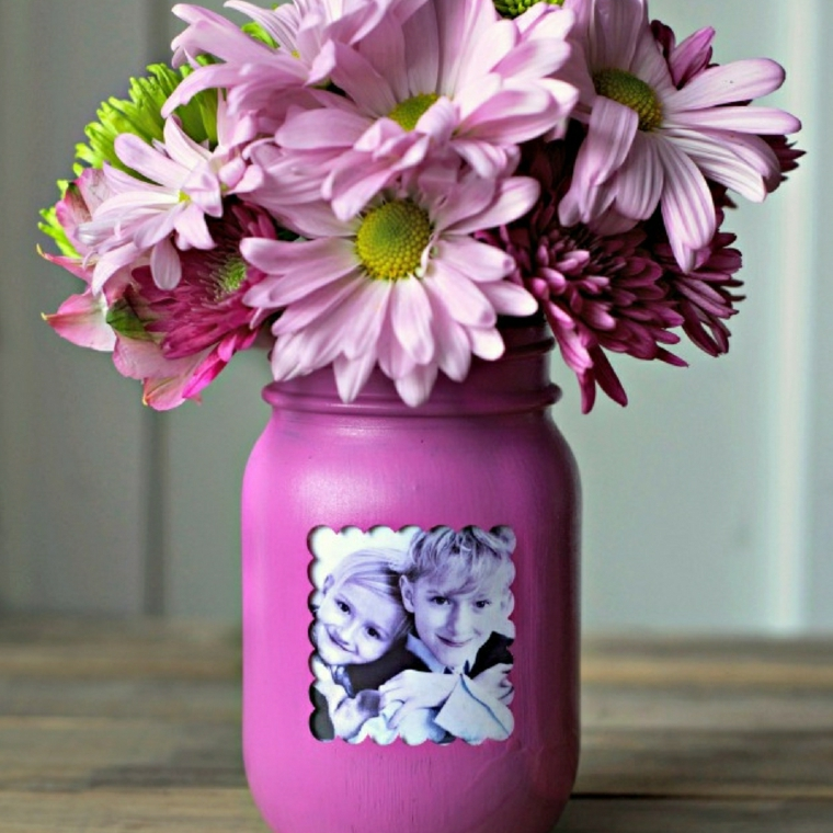 Regali per la festa dei nonni, barattolo di vetro dipinto con foto, vaso di fiori