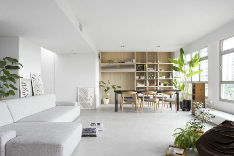 Soggiorno e sala da pranzo insieme, sala con tavolo di legno e sedie
