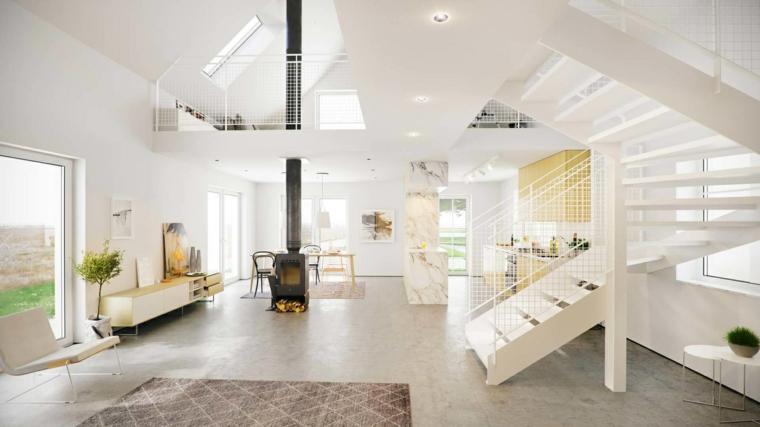 Appartamento open space con camino a legna, cucina e sala da pranzo insieme, appartamento con scale interne