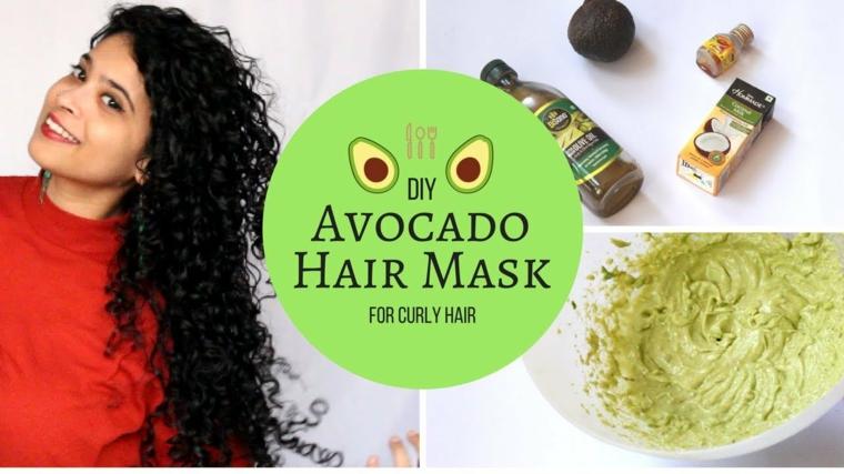 Maschera nutriente fai da te, donna con capelli lunghi e ricci, ciotola con avocado e latte di cocco