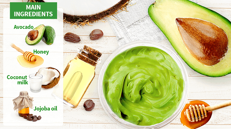 Come riparare i capelli danneggiati, ciotola con mix di avocado e e olio di jojoba