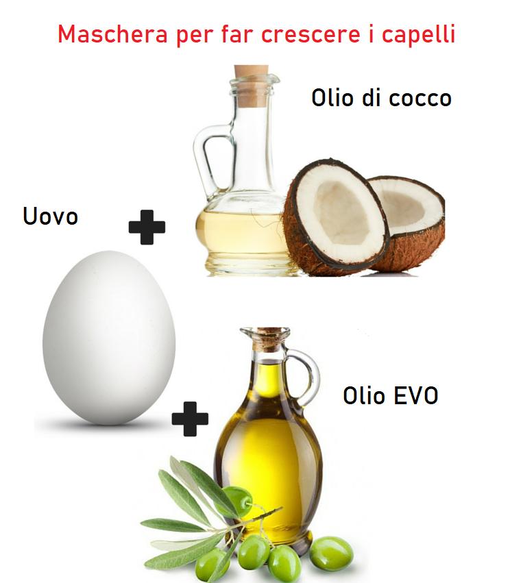 Maschere per far crescere i capelli, foto di ingredienti come uovo e olio di cocco