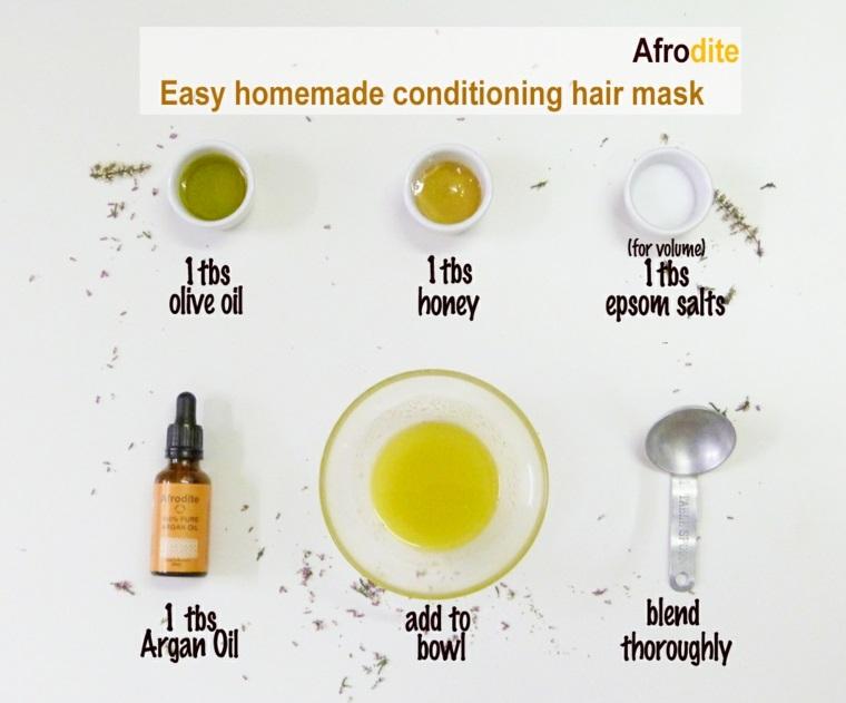 Come nutrire i capelli, ingredienti per preparare una maschera, ingredienti in ciotole