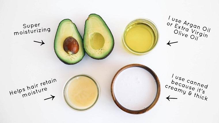 Maschere per far crescere i capelli, foto di un avocado tagliato e olio di argan in bicchiere