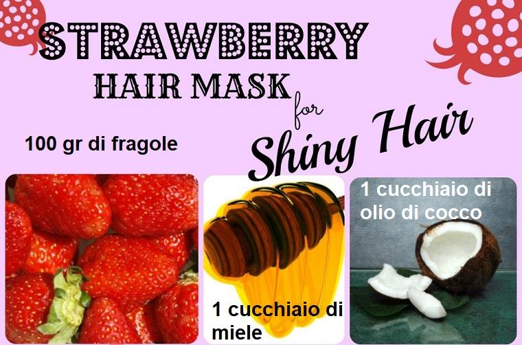 Maschera per capelli secchi e rovinati fai da te, foto di fragole e cucchiaio di miele