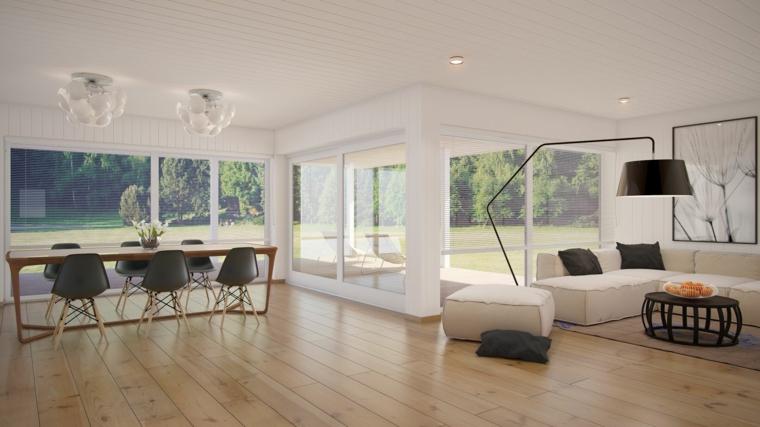 Appartamento loft open space con soggiorno e sala insieme, tavolo da pranzo con sedie