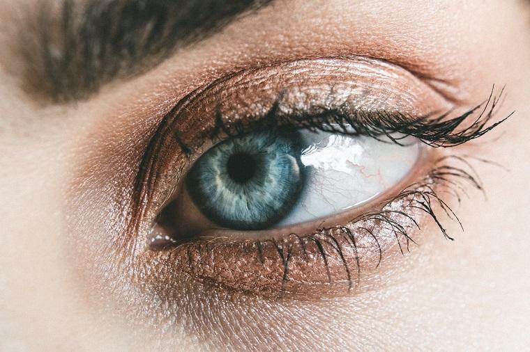 Occhio azzurro di una donna, ciglia e sopracciglia, difetti visivi degli occhi