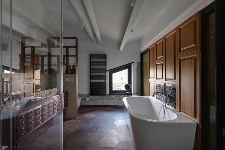 Bagno con pavimenti in piastrelle nido d'ape, case moderne interni open space