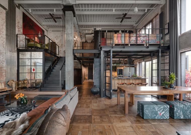 Come arredare un loft open space, appartamento con soppalco e scale interne, cucina e sala da pranzo insieme