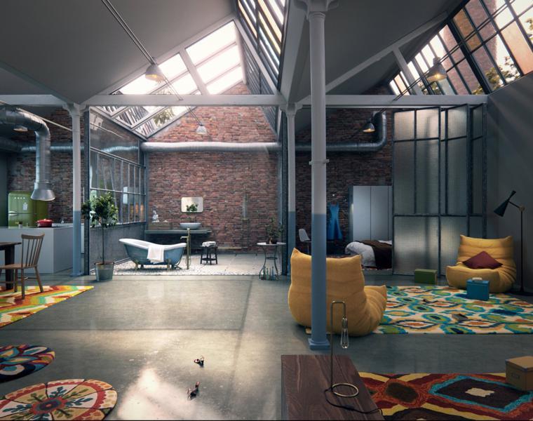 Open space con colonne e travi, soggiorno con poltrone e tappeto colorato